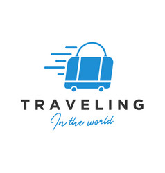 Traveling suitcase icon logo design simple vector