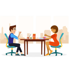 Two people doing conversation at the office vector