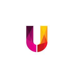 u colorful letter logo icon design vector image