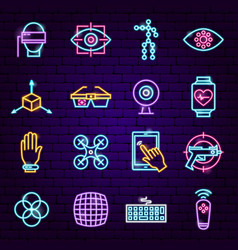 virtual reality neon icons vector image