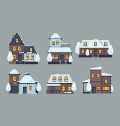 winter houses cute buildings with season snow vector image