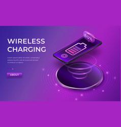 Wireless charging concept black smartphone on vector