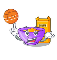 With basketball cereal box in a cartoon bowl vector