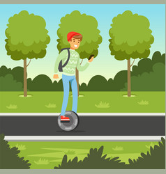 young man riding on gyroscope in the park man on vector image