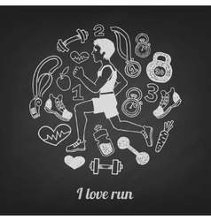 Run icons set vector image vector image