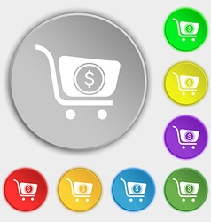 shopping cart icon sign Symbol on eight flat vector image vector image