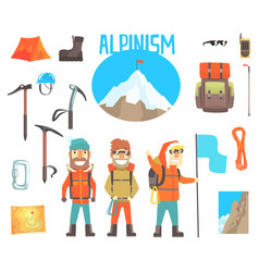 three mountaineers and mountaineering equipment vector image vector image