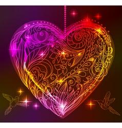 Valentine bright heart vector image vector image