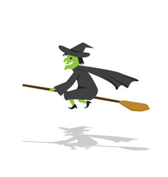 witch on a broomstick in flat cartoon style vector image vector image