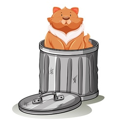Fat cat sitting in trashcan vector