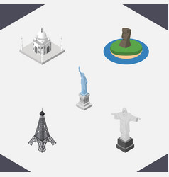 isometric travel set of rio india mosque new vector image vector image