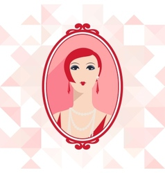 Retro background with beautiful girl of 1920s vector image