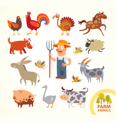 set funny farm little animals cartoon character vector image