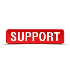 Support red 3d square button isolated on white vector image vector image