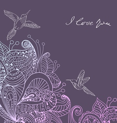 Valentines card with floral ornament and birds vector image