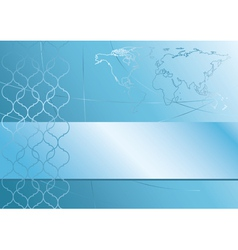 abstract blue background with map of the world vector image