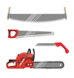 axeman instruments set hand saws carpentry tools vector image vector image