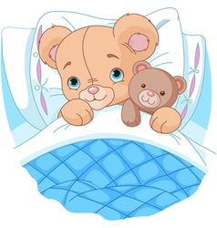Cute baby bear in bed vector image vector image