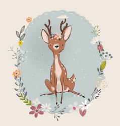 cute summer deer vector image vector image