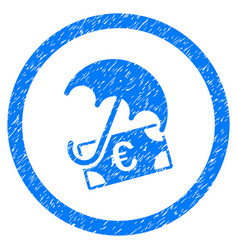 euro financial umbrella rounded icon rubber stamp vector image vector image