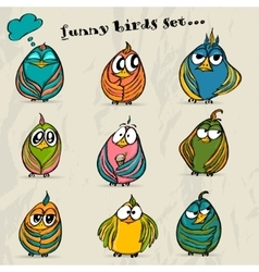 Set of 9 funny cartoon birds vector image