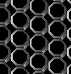 Abstract silver 3D hexagon seamless pattern vector image