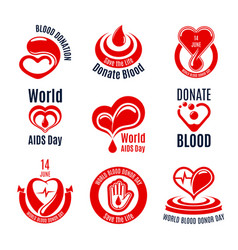 blood donation icon with red heart drop and hand vector image