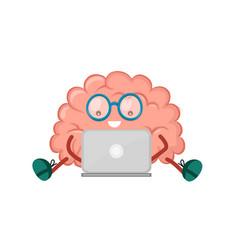 cute happy smiling brain sitting vector image vector image