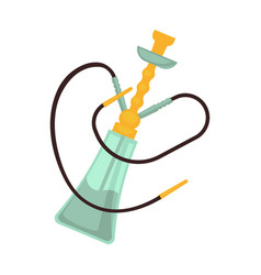 glass hookah with two pipes and golden bowl vector image vector image