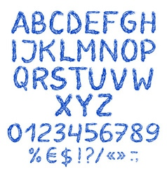Painted english alphabet with numbers and symbols vector image