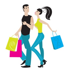 shopping girl and boy vector image