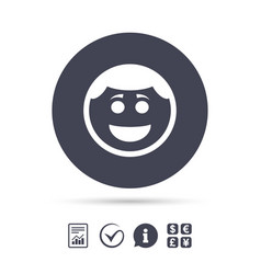 smile face icon smiley with hairstyle symbol vector image vector image