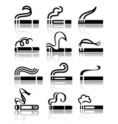 The set of black symbols cigarettes vector image vector image