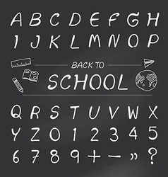 alphabet sketched style back to school vector image