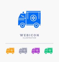 ambulance truck medical help van 5 color glyph vector image