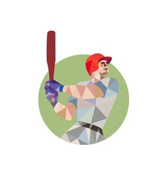 Baseball batter batting circle low polygon vector
