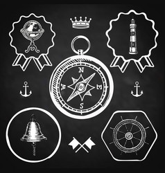 Blackboard compass bell lighthouse marine nautical vector