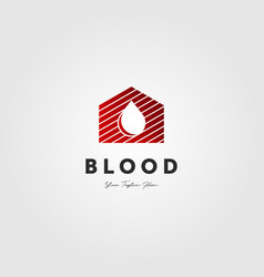 blood drop oil logo house design vector image