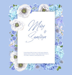 blue anemone frame vector image
