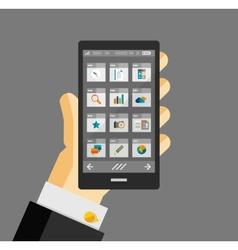 Businessman hold smartphone with apps vector image