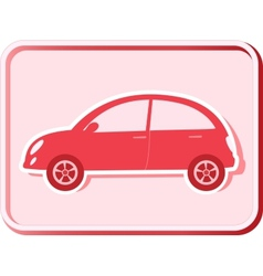 Button with retro car vector