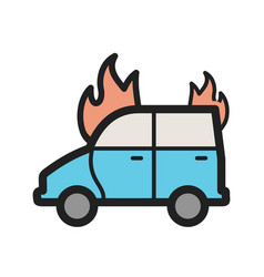 Car on fire vector