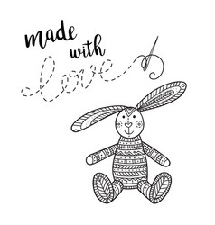 Card handmade theme with lettering and bunny toy vector