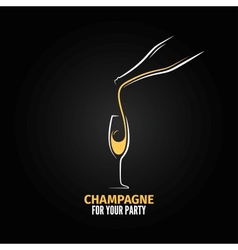 champagne glass bottle design background vector image