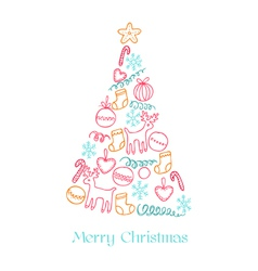 Christmas Card - Christmas Tree with Elements vector