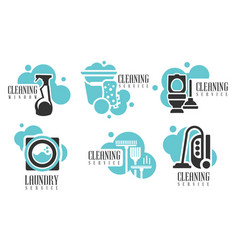 cleaning services logo set professional vector image