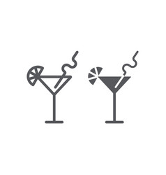 cocktail line and glyph icon bar and party drink vector image