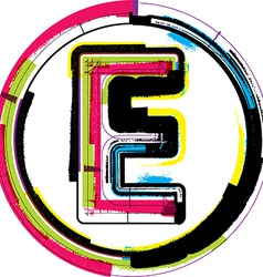 Colorful grunge font letter e vector