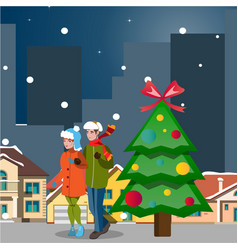 couple winter city landscape vector image