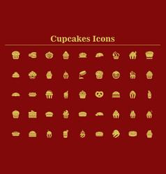Cupcakes set cupcake collection vector